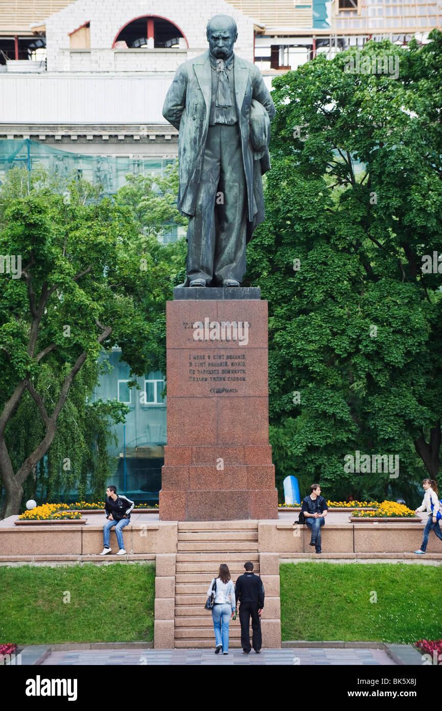 Statue of Taras Schevchenko, a Ukrainian national poet, Shevchenko Park, Kiev, Ukraine, Europe - Stock Image