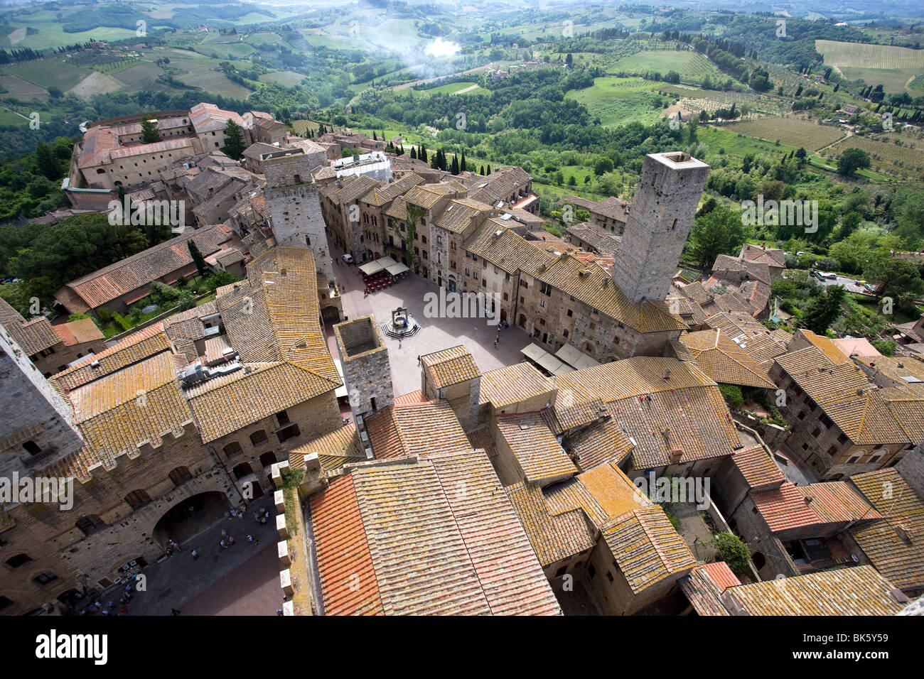 Aerial view of Sam Gimignano from one of its medieval stone towers, UNESCO World Heritage Site, Tuscany, Italy, - Stock Image