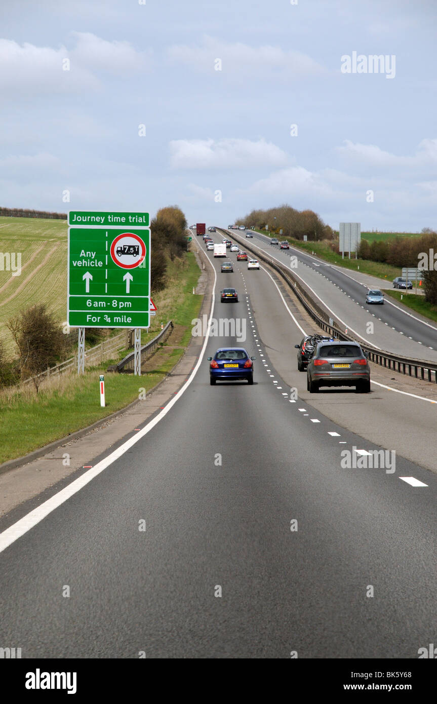 Highways Agency trial lorry ban from the outside lane of the A34 road during the hours of 6am & 8pm every day for Stock Photo