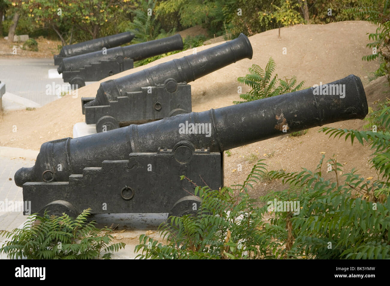 Cannons from 1854-5 battles, Malakhov bastion, Sevastopol, Crimea, Ukraine, Europe - Stock Image