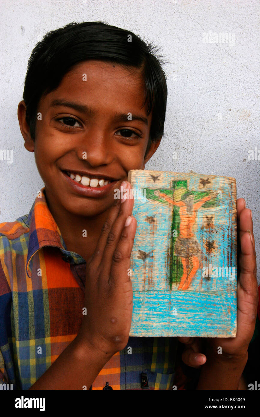 Catholic boy in a center run by the organisation Mass Education, Mathurapur, West Bengal, India, Asia - Stock Image