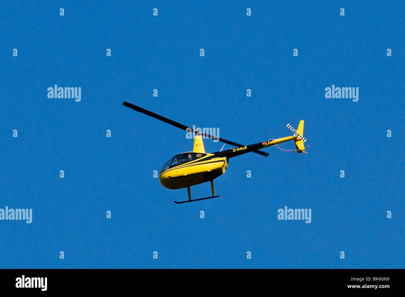 Black and yellow helicopter, Air Lloyd Robinson R44 Raven II, flying against a blue sky Stock Photo