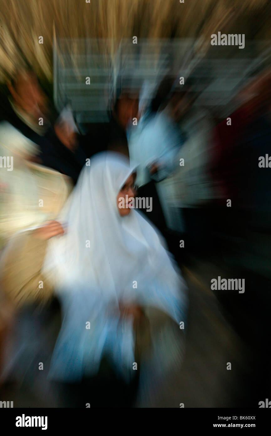 Muslim women in the Lyon Great Mosque, Lyon, Rhone, France, Europe - Stock Image