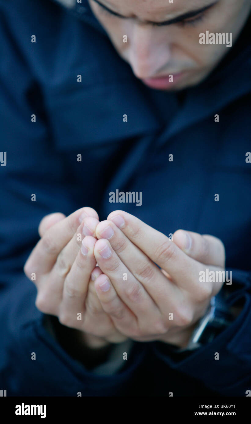 Man Praying In The Great Mosque Lyon Rhone France Europe