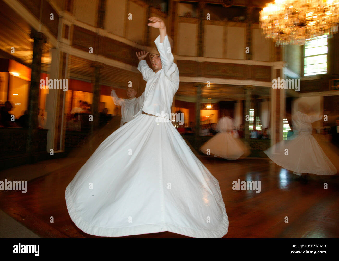 Whirling dervishes at Uskudar's convent, Istanbul, Turkey, Europe Stock Photo