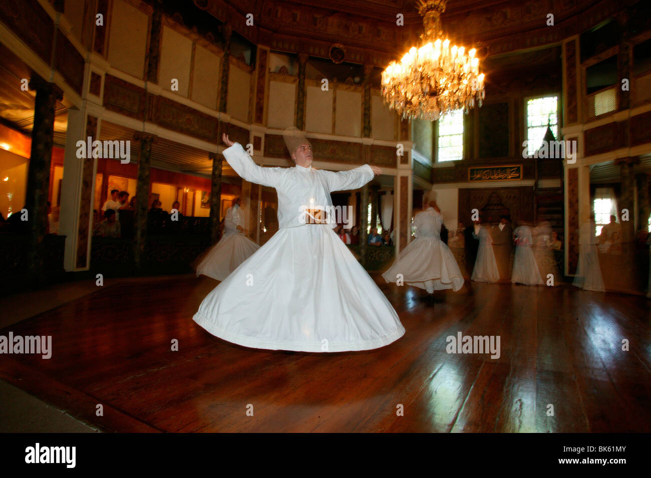 Whirling dervishes at Uskudar's convent, Istanbul, Turkey, Europe - Stock Image