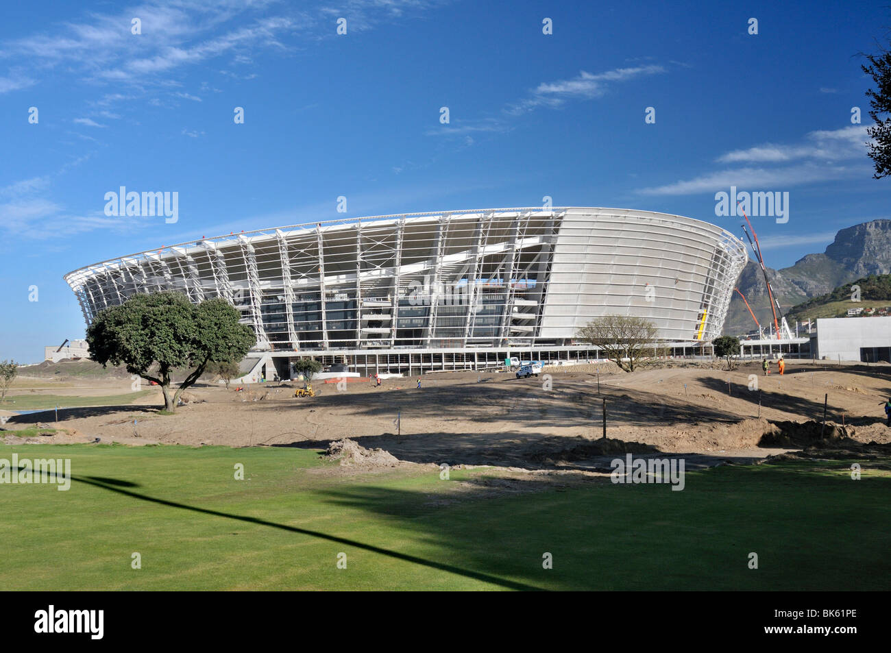 World Cup 2010, Green Point Stadium football stadium construction site, Cape Town, South Africa, AfricaWorld Cup - Stock Image