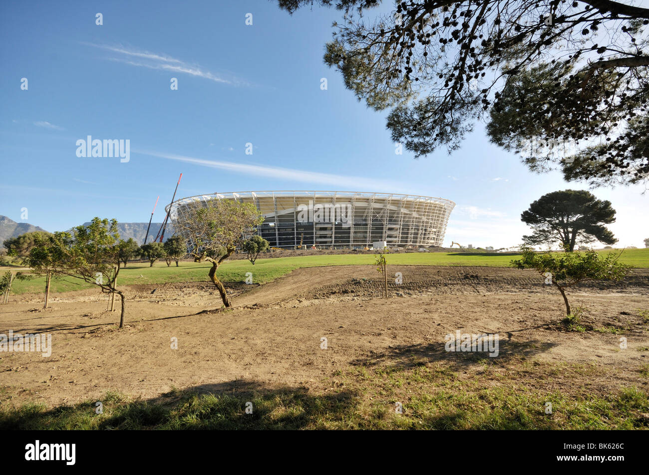 World Cup 2010, Green Point Stadium football stadium construction site, Cape Town, South Africa, Africa - Stock Image