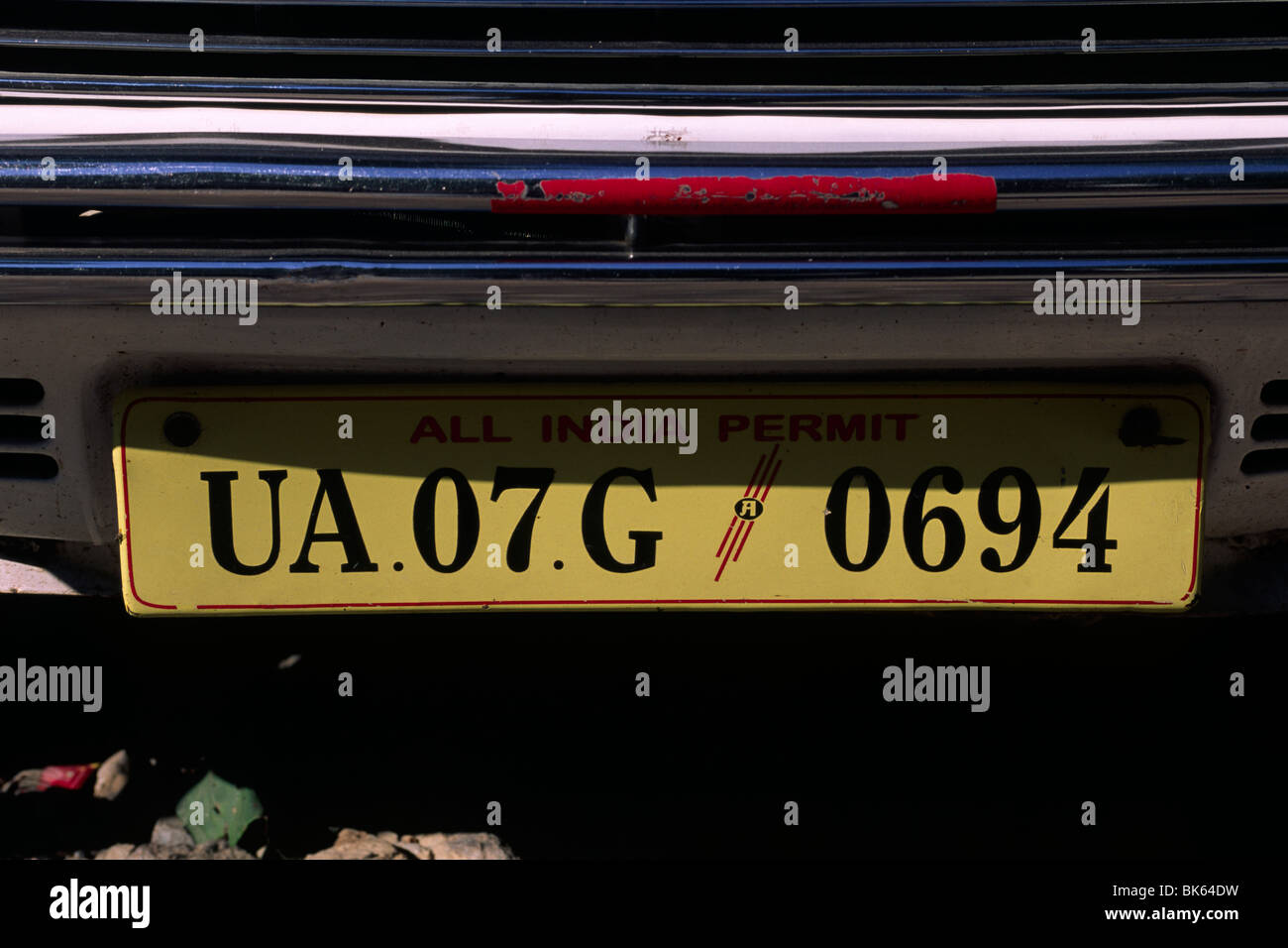 india, uttarakhand, rishikesh, car plate close up - Stock Image
