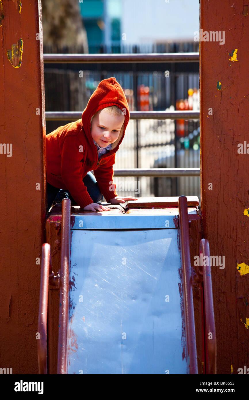 Slide in Battery Park, Manhattan, New York City - Stock Image
