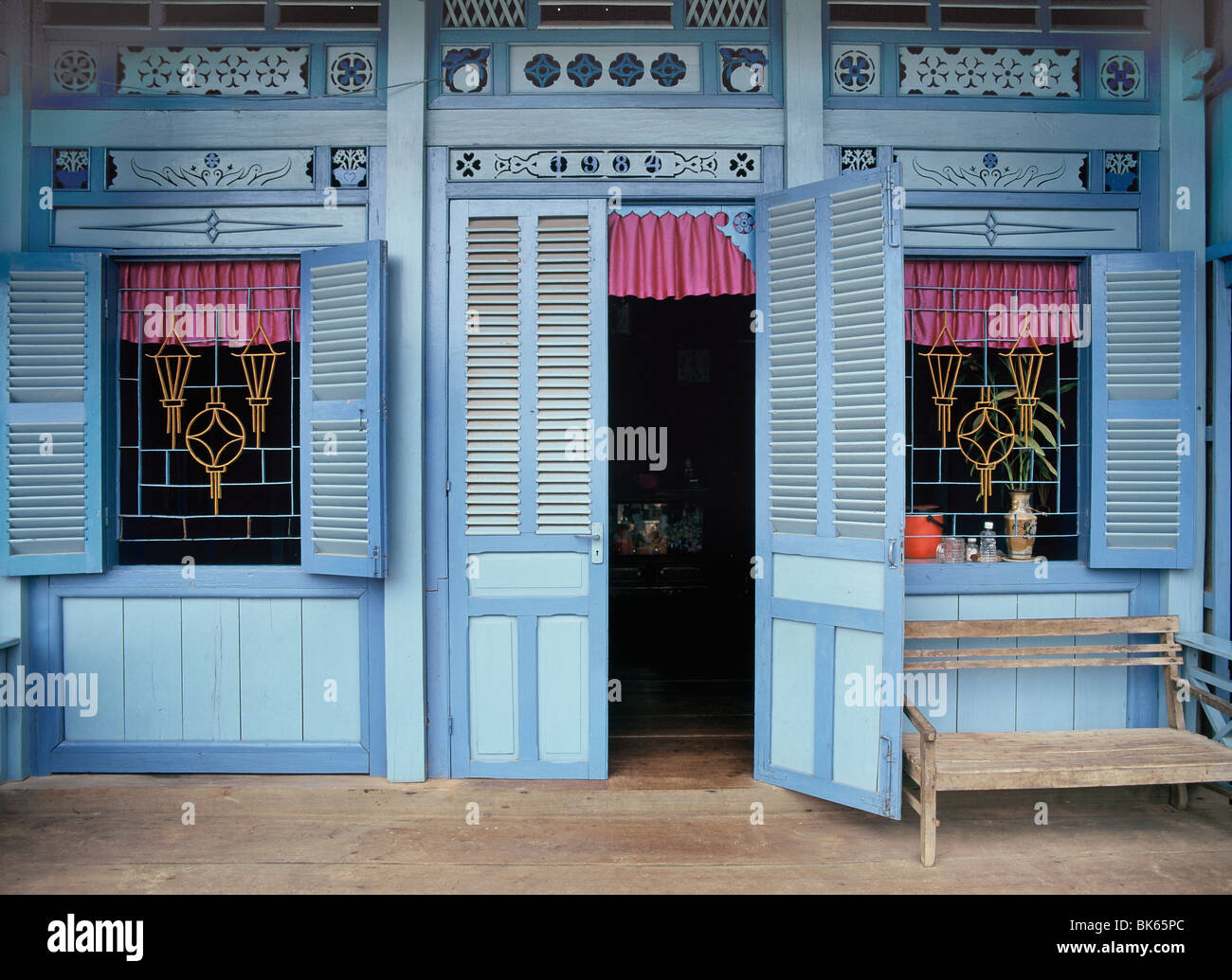 Front of a Vietnamese house on the island of Phu Quoc, Vietnam, Indochina, Southeast Asia, Asia - Stock Image