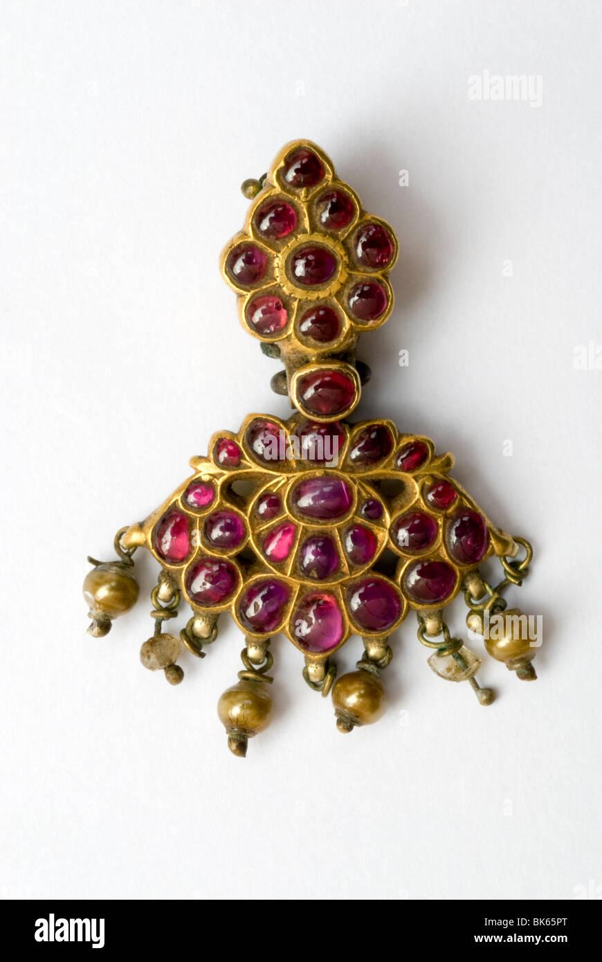 Ruby Pendant ( Attigai Pathakkam)- Gold- 120 years old, Coimbatore - Stock Image