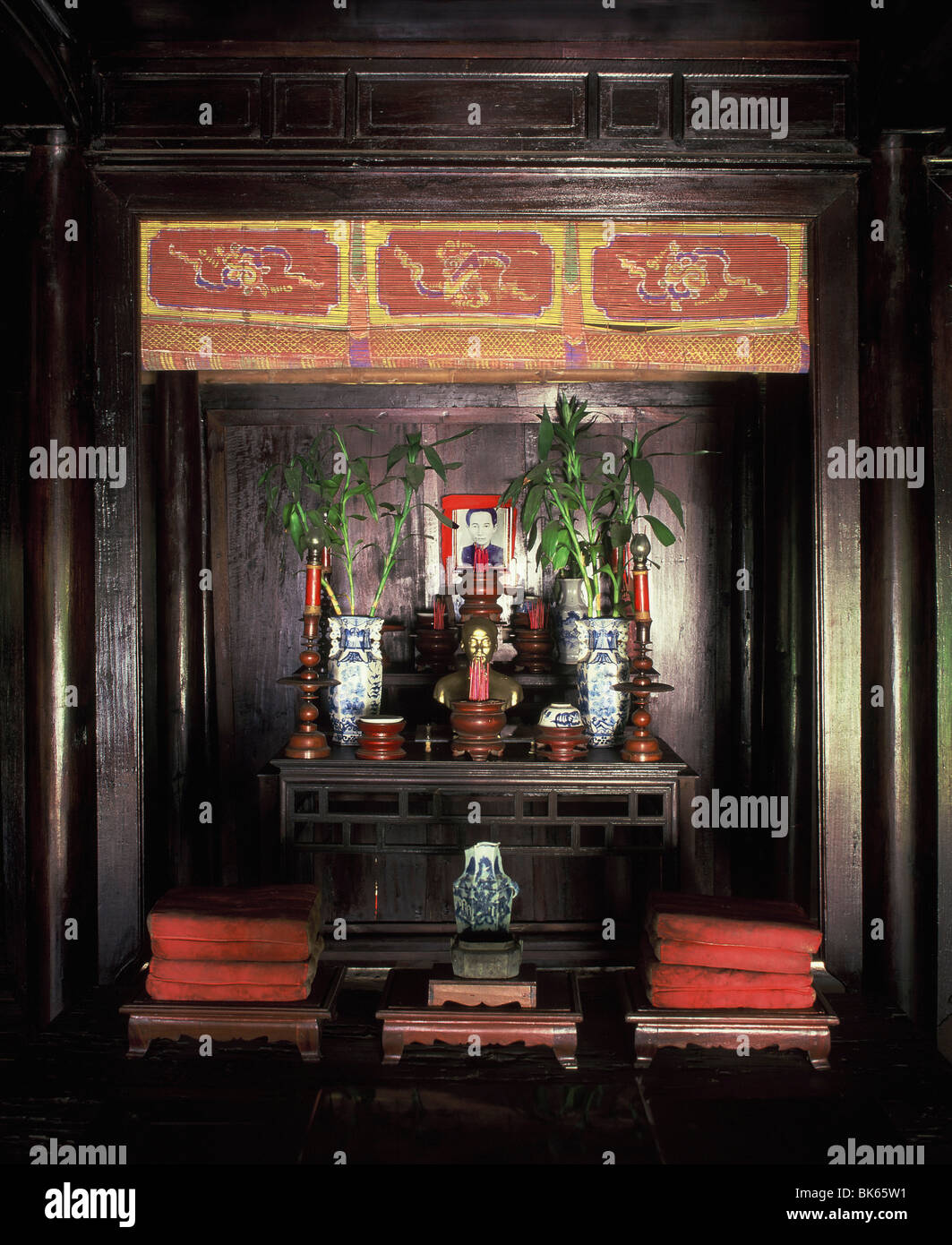 Shrine in the house where Ho Chi Minh was born, Hue, Vietnam, Indochina, Southeast Asia, Asia - Stock Image