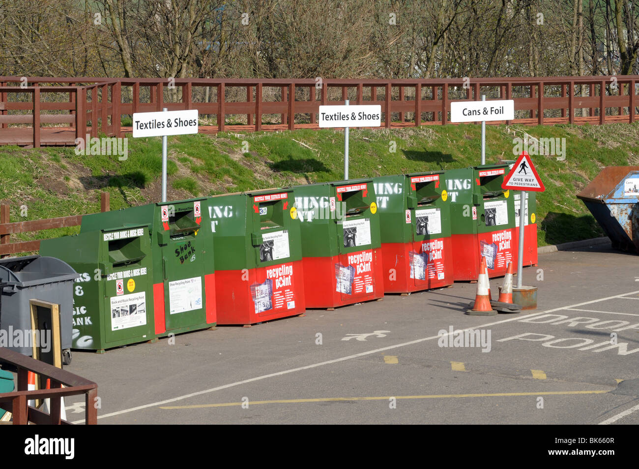 A bank of recycling bins at a council run recycling centre Stock Photo