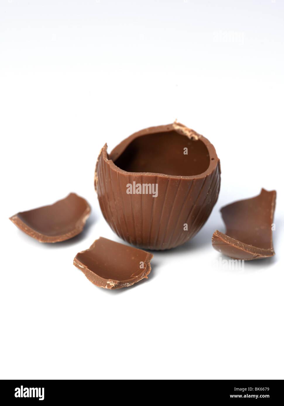 Broken chocolate egg. - Stock Image