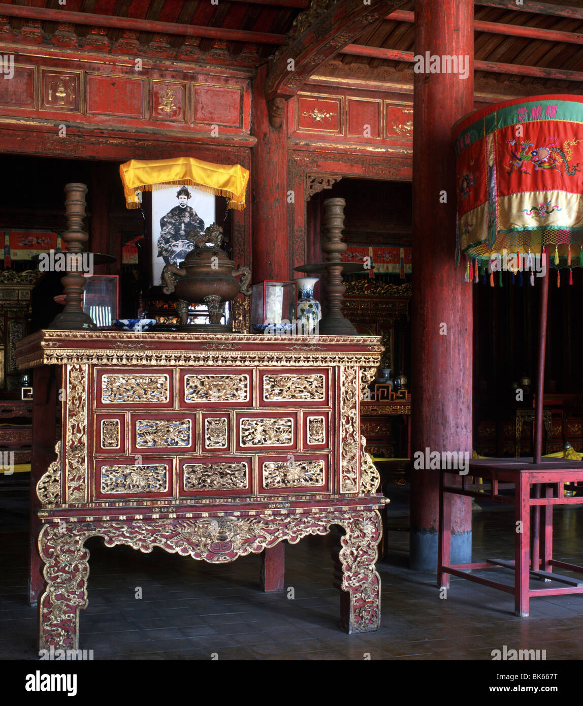 The Dynastic Temple (The Mieu), dedicated to ten Nguyen Emperors, The Citadel, Hue, UNESCO World Heritage Site, - Stock Image
