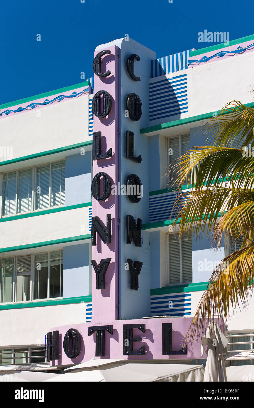 'Art Deco' Hotel, 'South Beach' Miami, Florida, USA - Stock Image