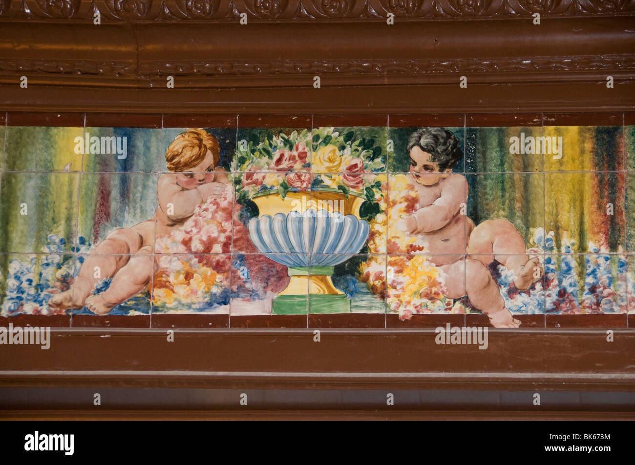 Spain Spanish Madrid wall tiles Villa Rosa - Stock Image