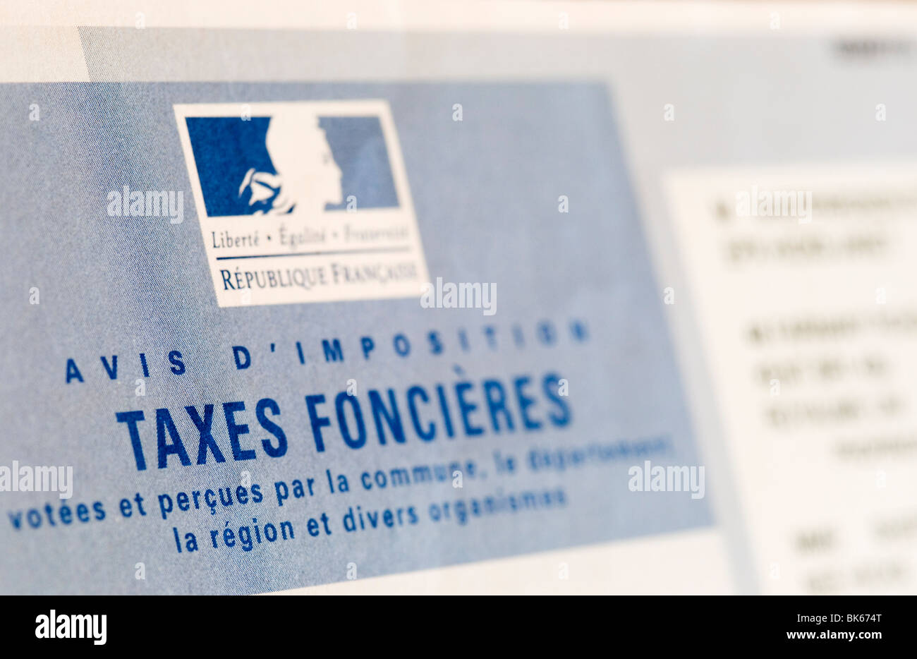 French Taxes Foncieres bill - Stock Image
