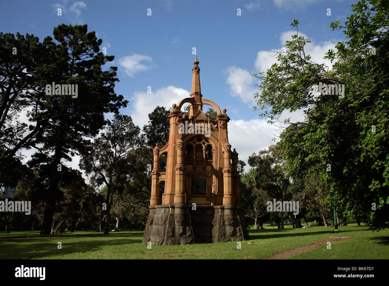 Boer-War Monument for the Victorian 5th Contingent / Victorian Mounted Rifles at Kings Domain in Melbourne, Victoria, - Stock Image