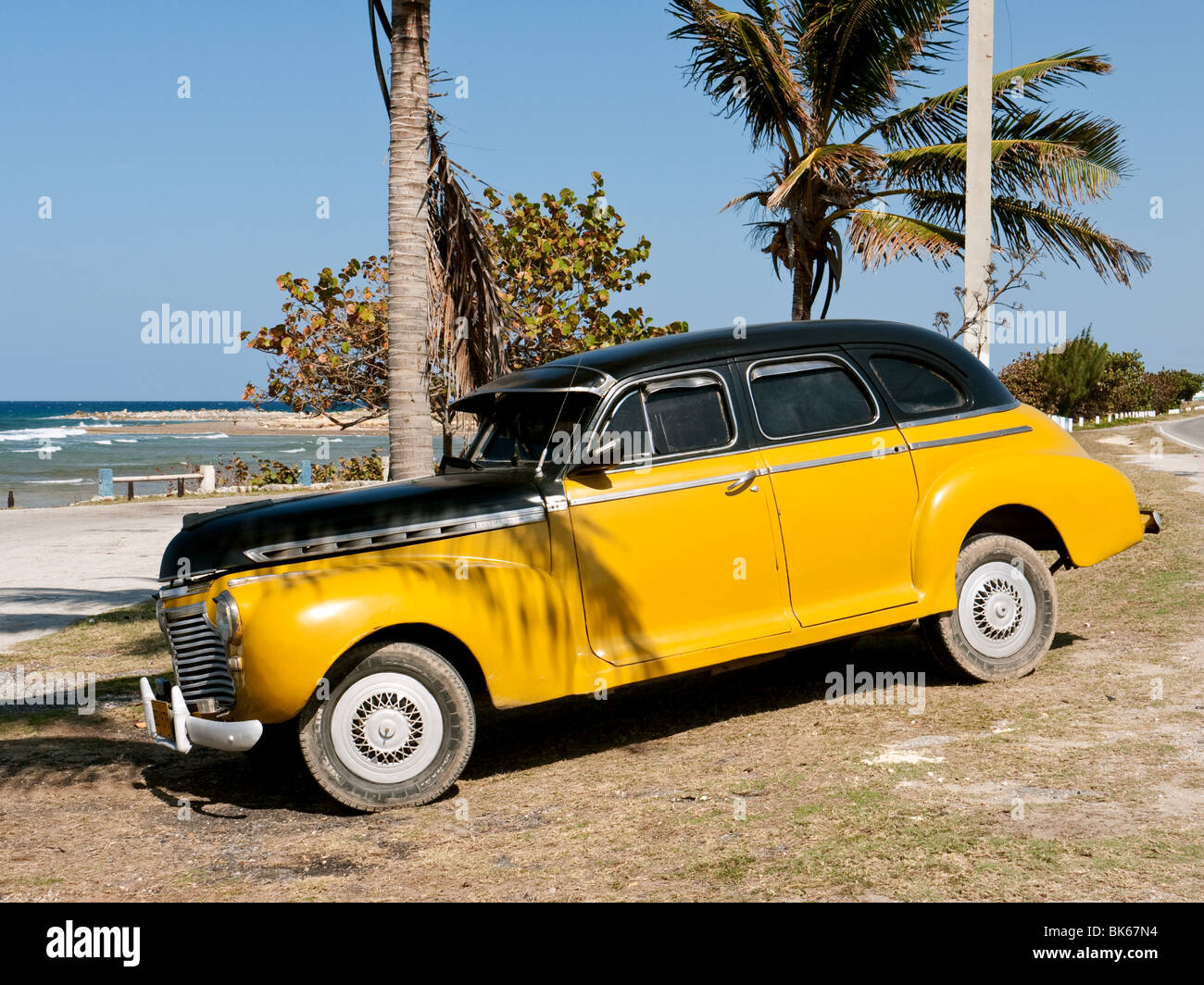 1950s American Car By The Beach Near Havana Cuba