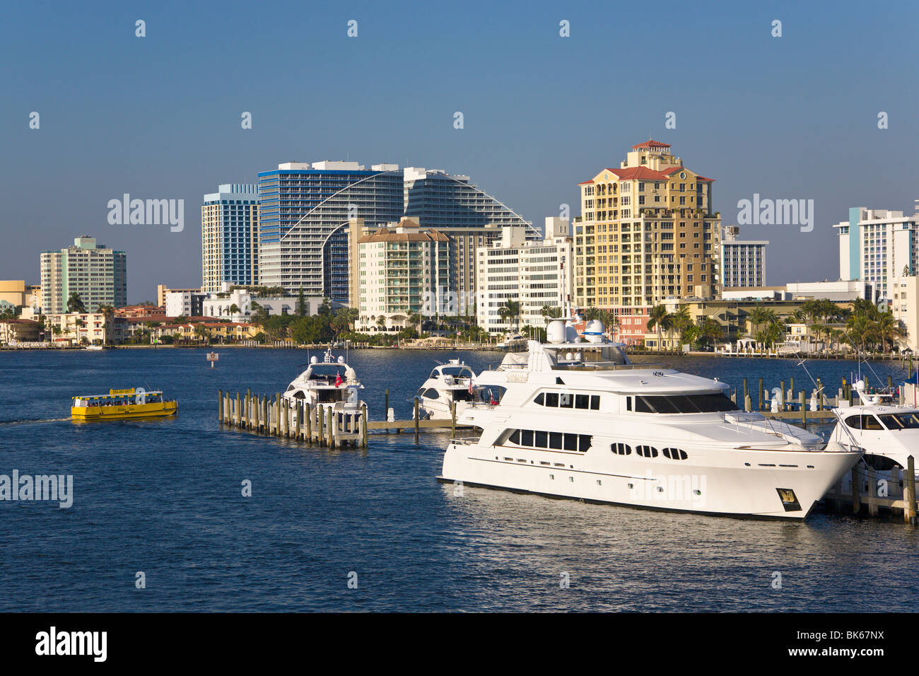 "Apartments and marina, ""Las Olas"", Fort Lauderdale, Florida, USA Stock Photo"