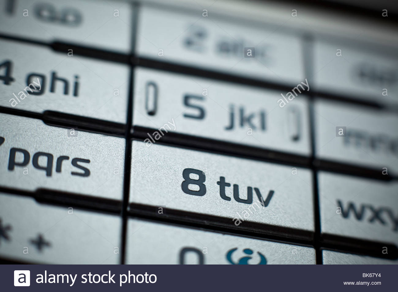 Close up shot of Cell phone focused on number eight - Stock Image