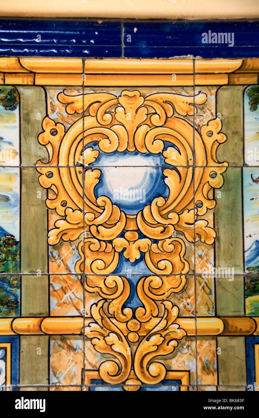 Spain Spanish Madrid  Town City  wall tiles tile - Stock Image