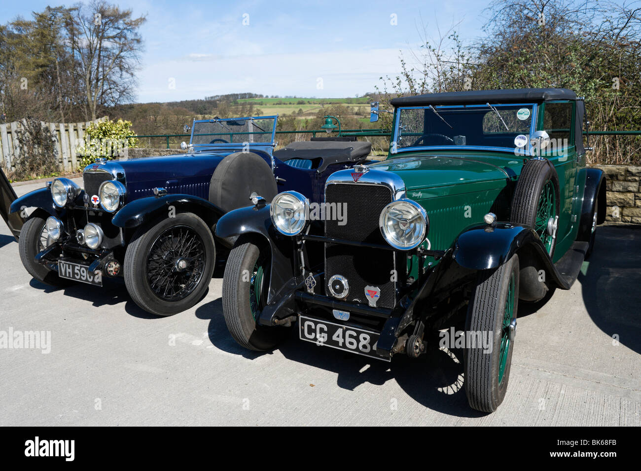 Classic Alvis cars in the Yorkshire Dales, England - Stock Image
