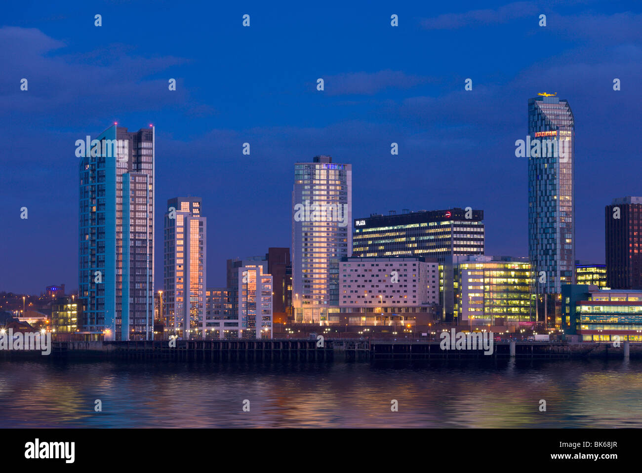 Skyline and Waterfront at night, Liverpool, Merseyside, England - Stock Image