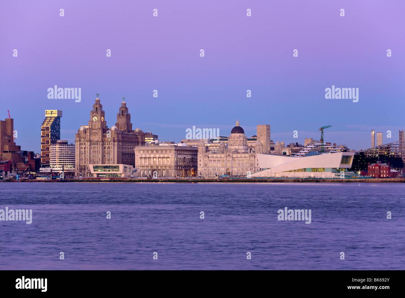 Skyline and Waterfront, Liverpool, Merseyside, England - Stock Image
