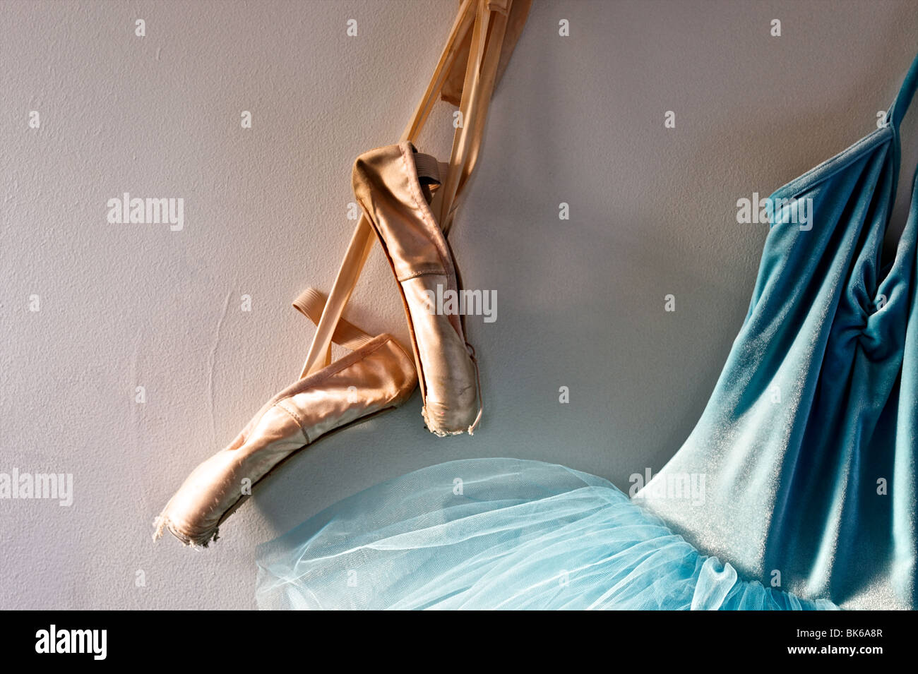 a9adb97181f0 a blue velvet romantic tutu is hanging on a wall beside a worn pair of  ballet