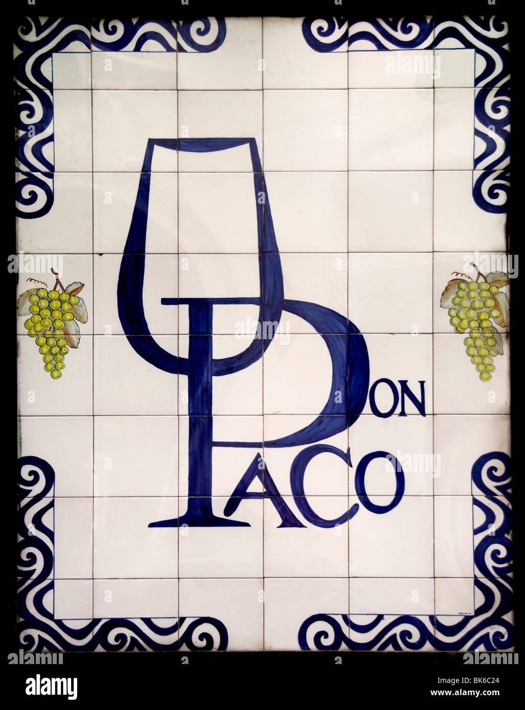 Spain Spanish Madrid wall tiles Don Paco Wine - Stock Image