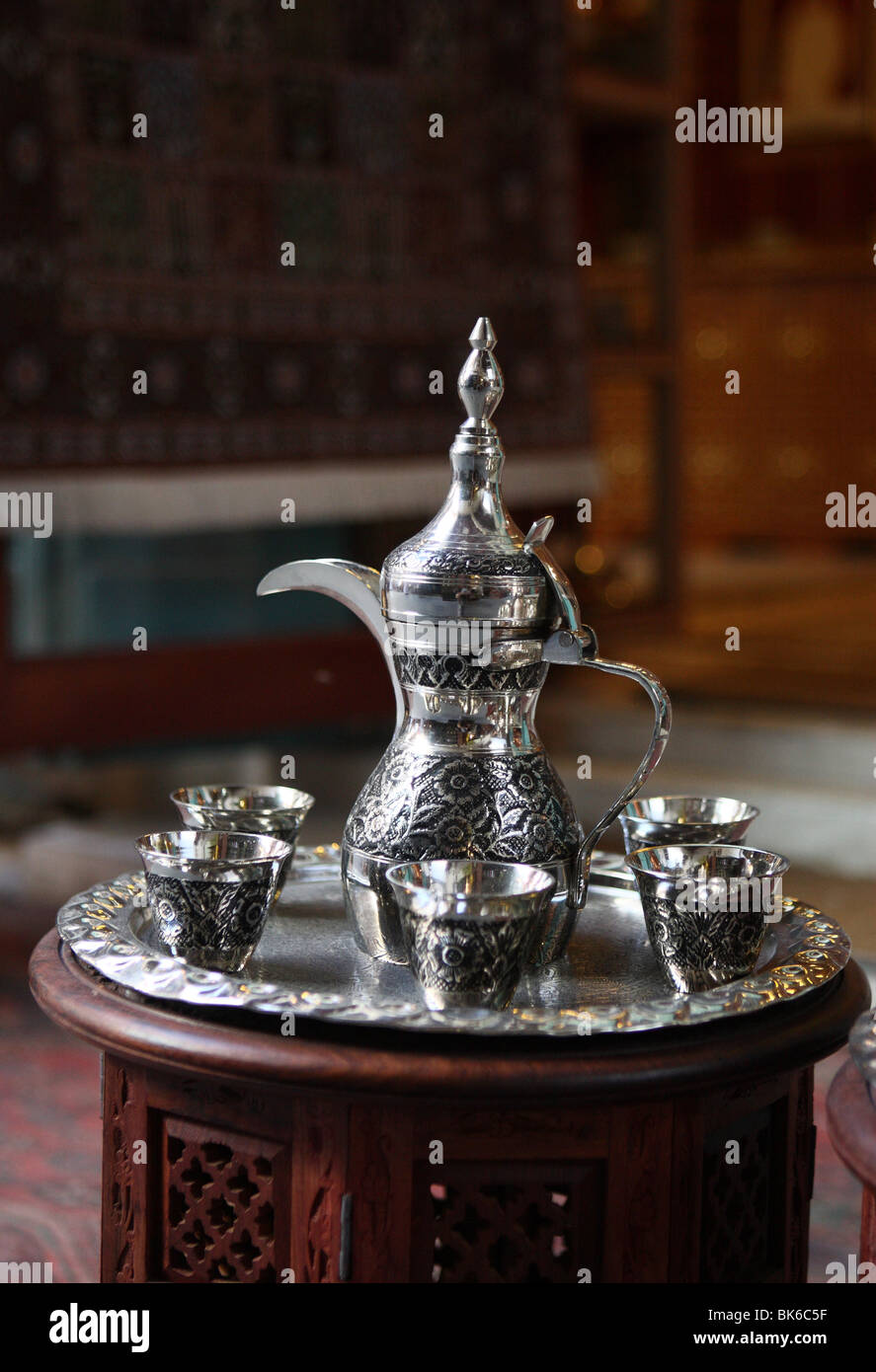 Arabic coffee set in  Souq Waqif,Doha,Qatar - Stock Image