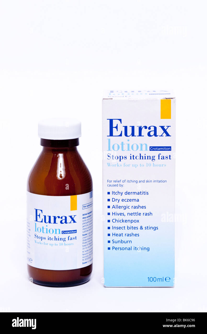 A bottle of Eurax lotion for relief of itching and skin irritation on a white background - Stock Image