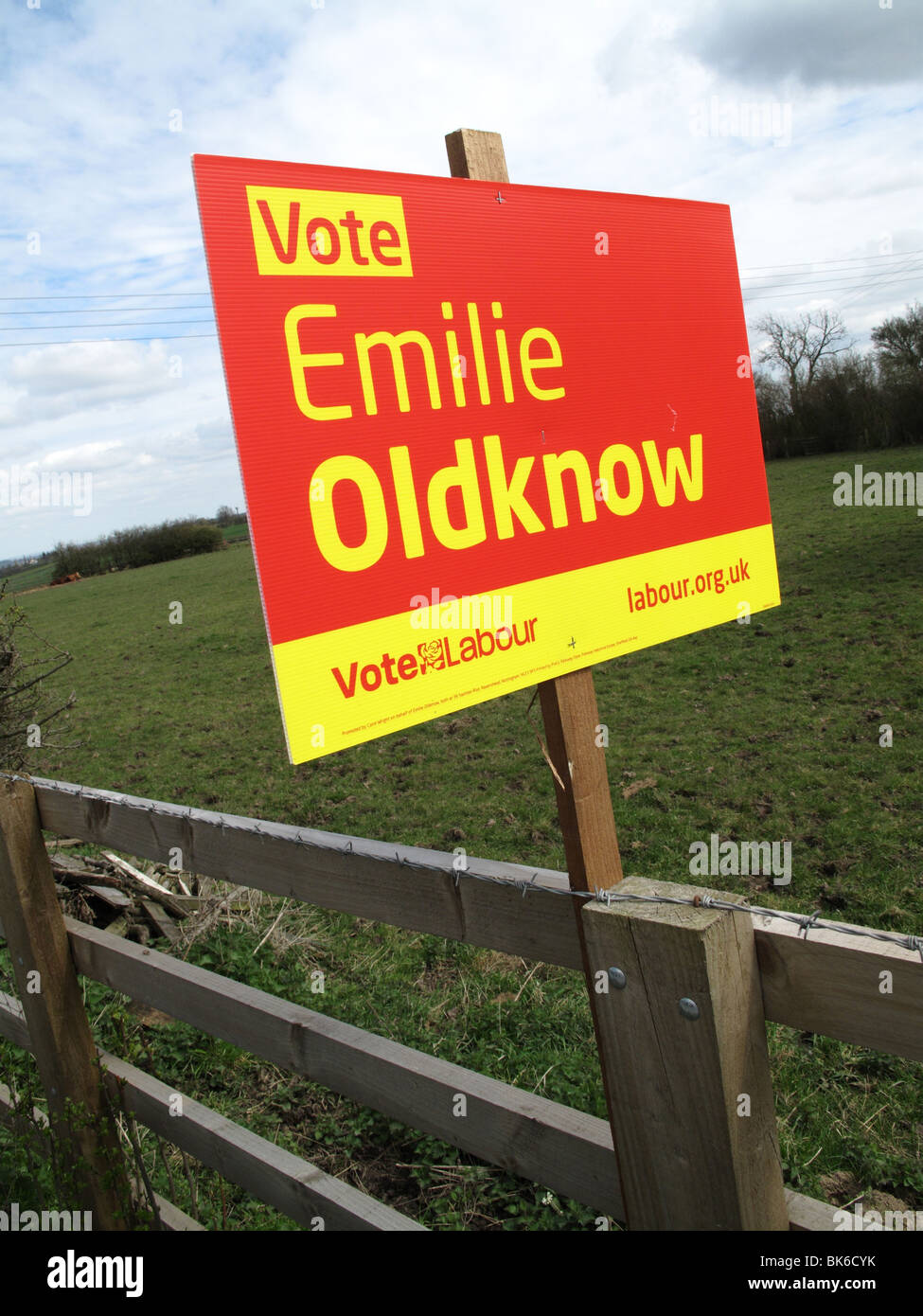 A roadside sign supporting an East Midlands Labour Party candidate in the 2010 U.K. General Election. - Stock Image