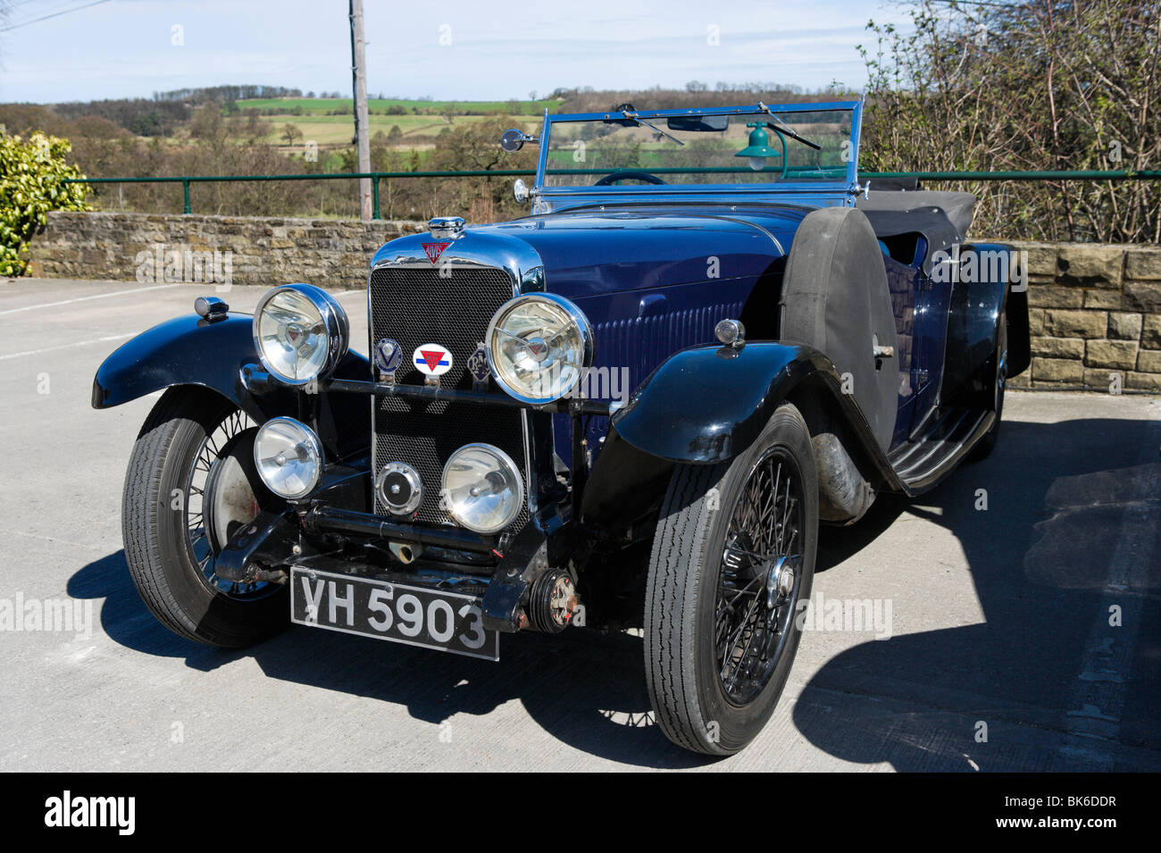 A classic Alvis car in the Yorkshire Dales, England - Stock Image