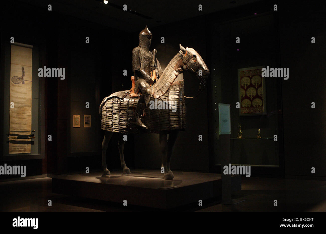Sculpture of amoured knight on horse in the Museum of Islamic Art (MIA) in Doha,Qatar - Stock Image