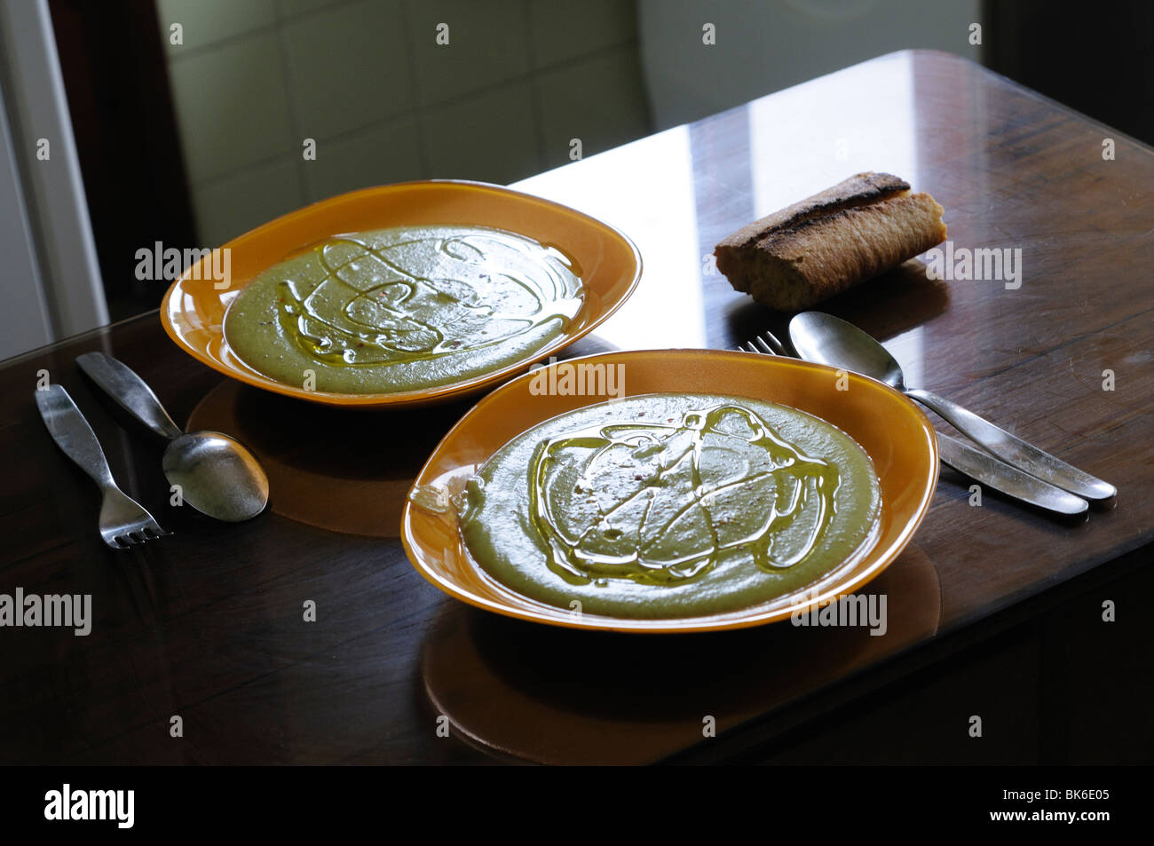Pureed vegetables dishes on the table Stock Photo
