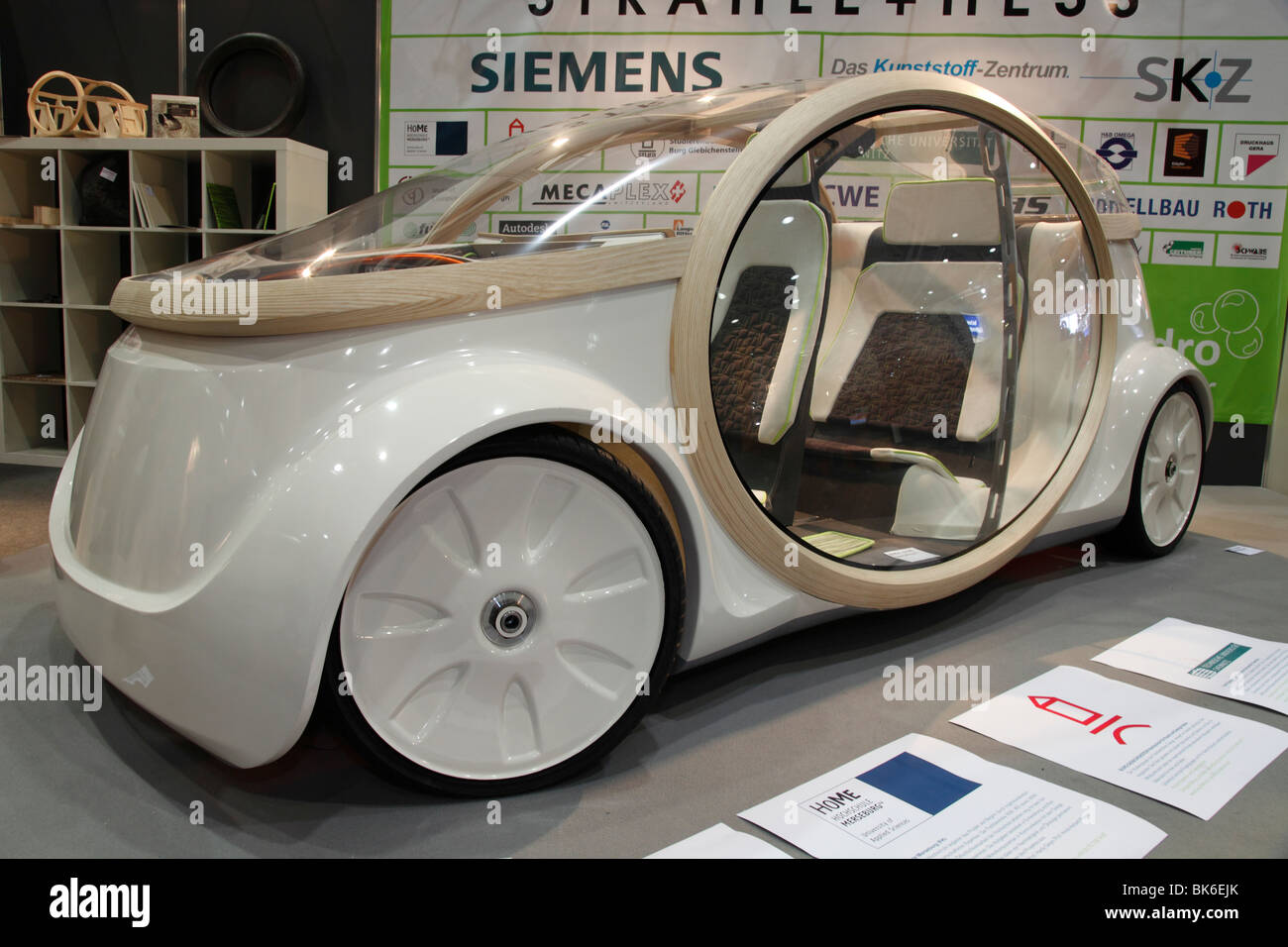 wooden concept car developed by German students at the Auto Mobil International (AMI) - the Motor Show 2010 in Leipzig - Stock Image