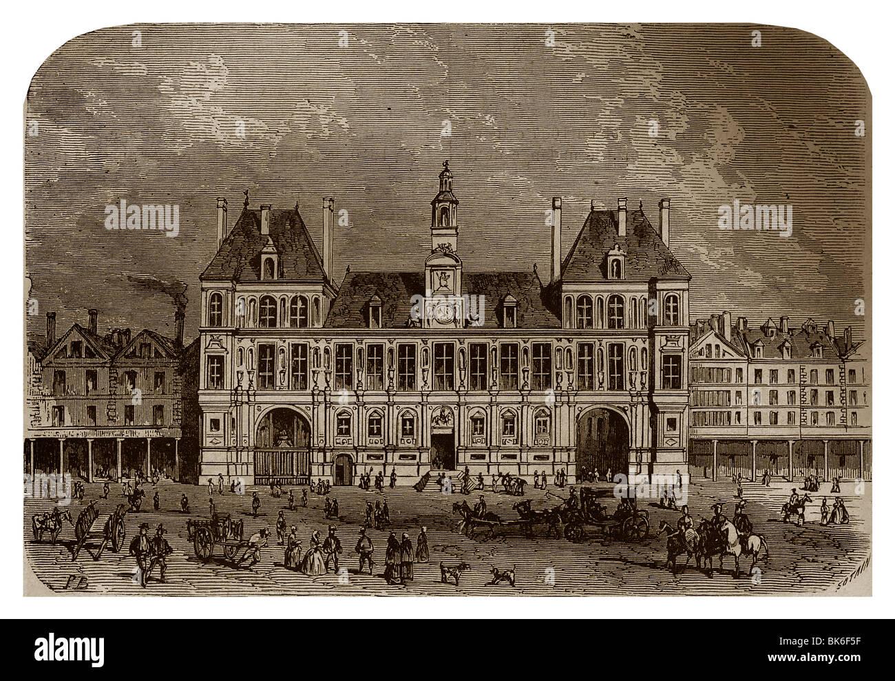 Hôtel de ville of Paris during the reign of Henry IV of France. - Stock Image