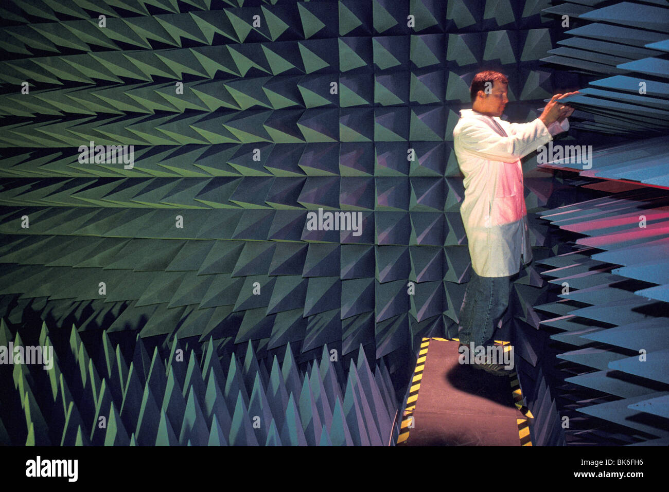 released scientist in anechoic (acoustic) chamber National Institute of Standards and Technology - Stock Image