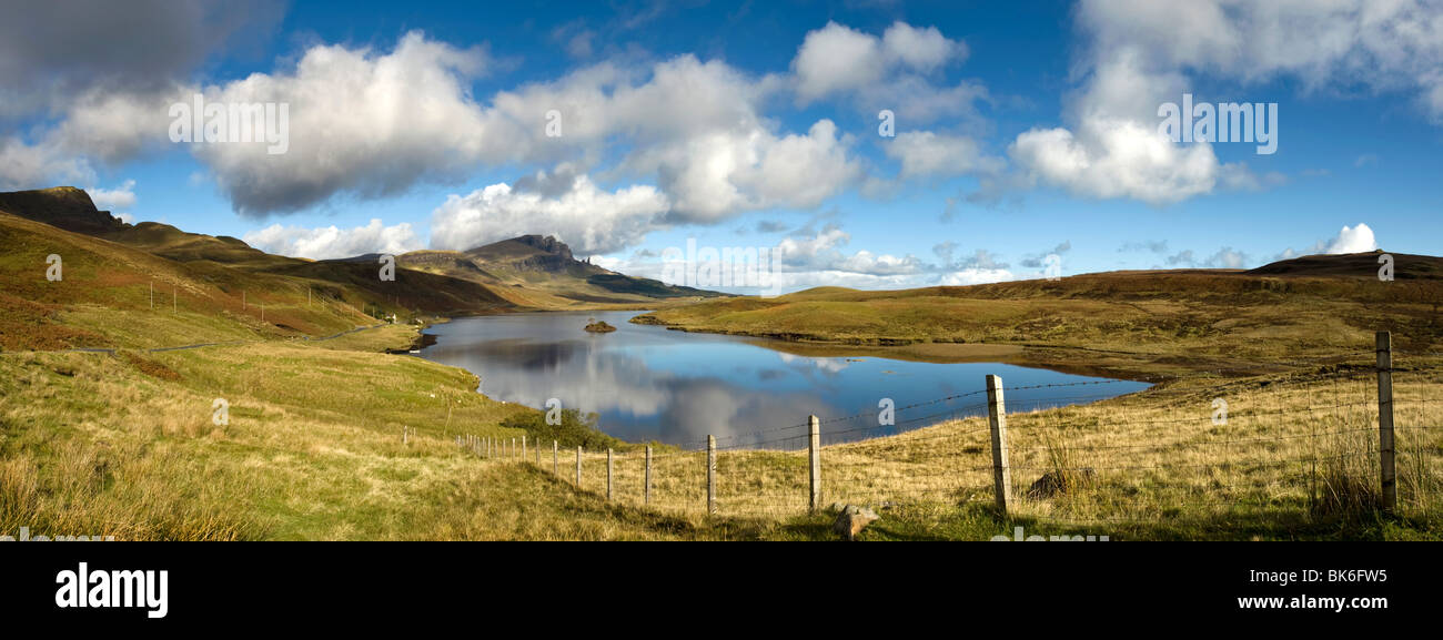 Panoramic Of The Old Man Of Storr, Isle Of Skye, Scotland Stock Photo