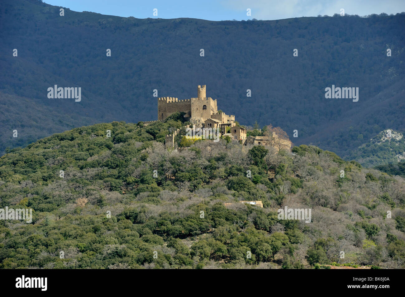 castle of Recasens, La Jonquera, Alt Empordà, Girona, Spain Stock Photo