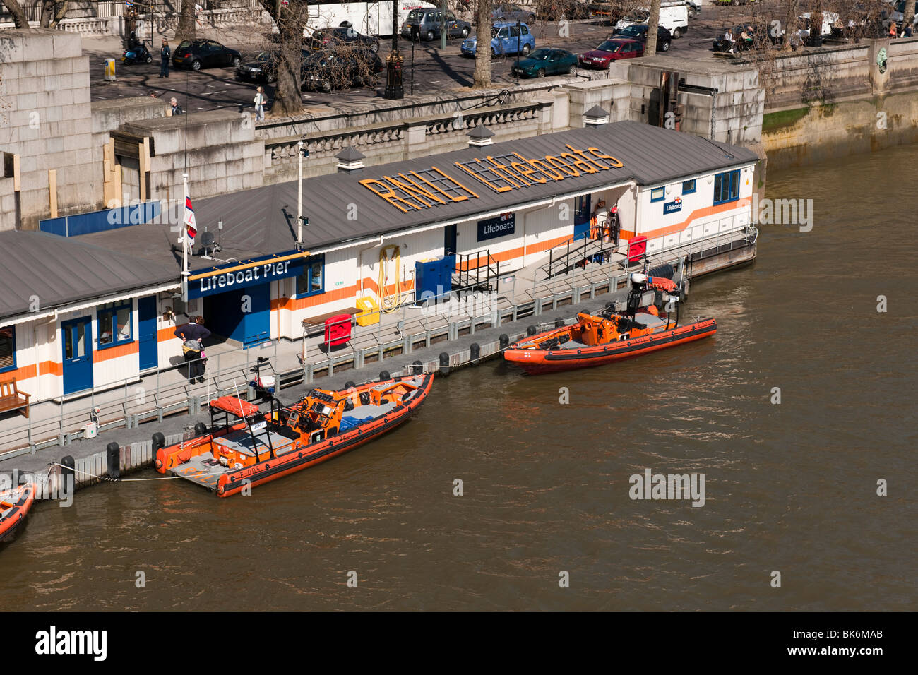 The Royal National Lifeboat Institution Tower station on the River Thames at Waterloo Bridge - Stock Image