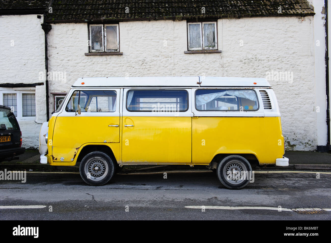 Volkswagen Camper Van Yellow Hippy Hippies Camping VW Festivals Profile Side View Retro Retrospective Vintage