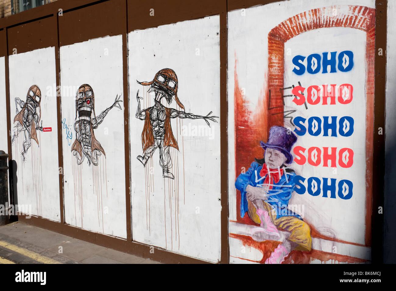 Graffiti on graffiti in London's Soho - Stock Image