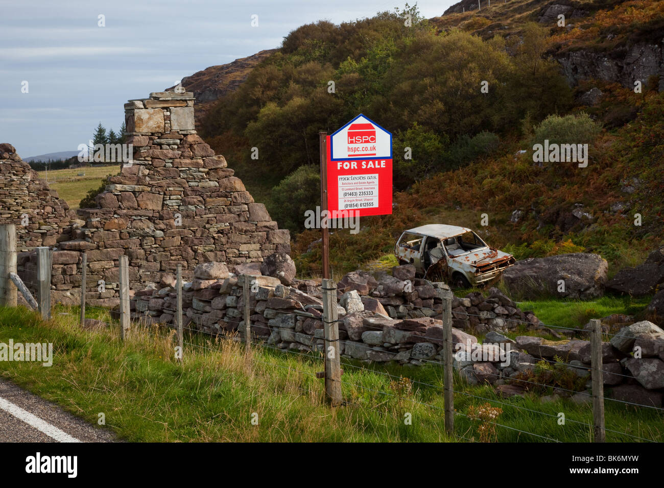 Derelict roadside house, a ruined stone cottage in Ullapool for sale ...