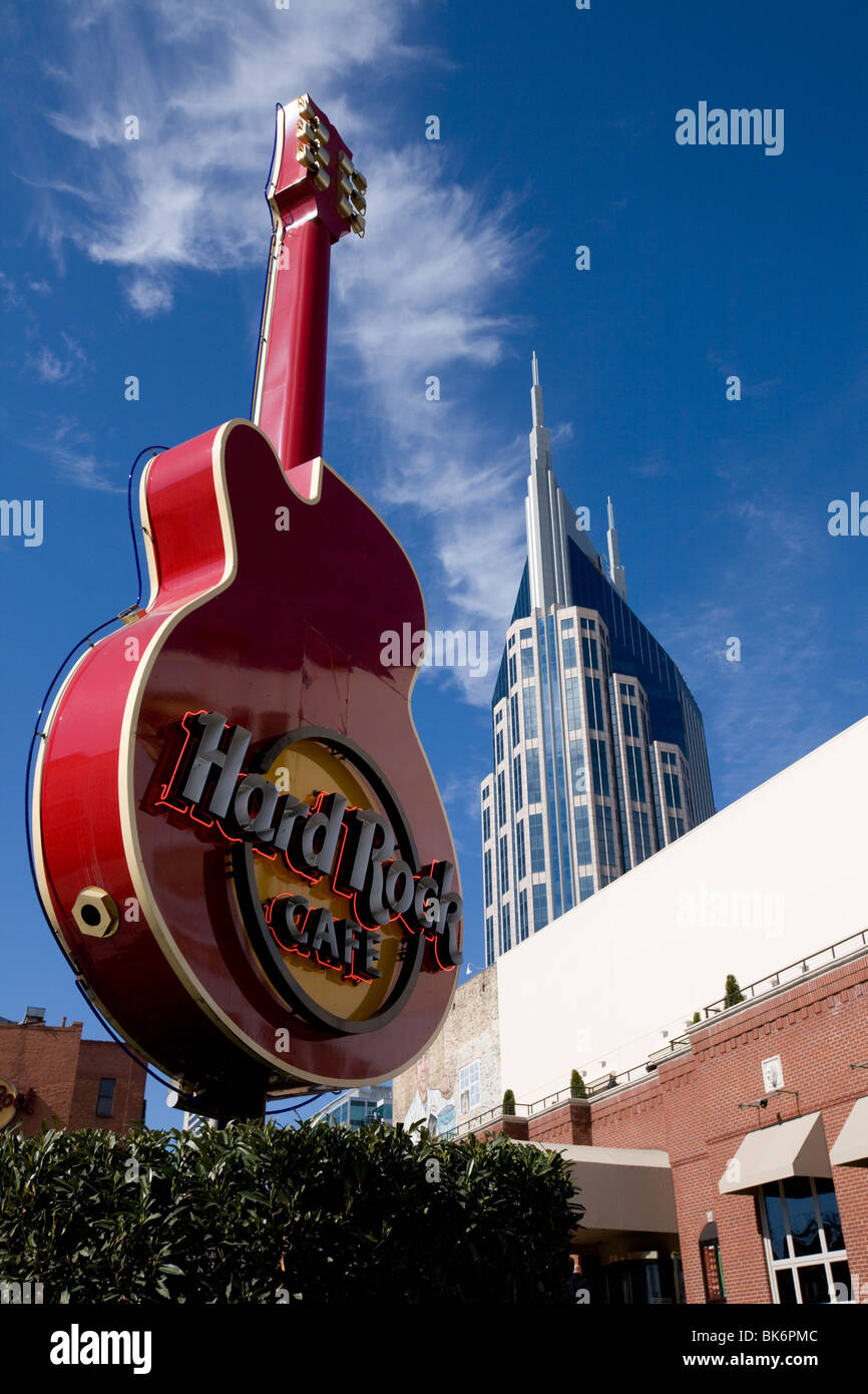 AT&T Building and Hard Rock Cafe, Nashville, Tennessee - Stock Image