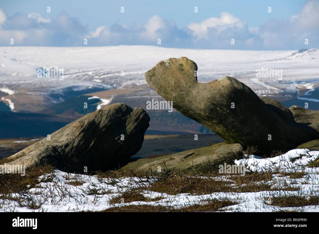 Bleaklow Fell from Derwent Edge, Derwent Moors, Peak District, Derbyshire, England, UK - Stock Image